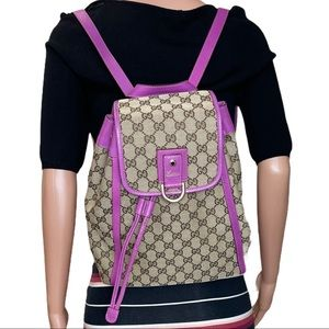 Authentic GUCCI GG Jacquard & Leather Back…